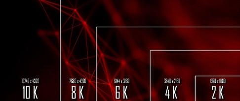 10K 8K 6K  4K  2K tv resolution display with comparison of resolutions